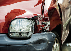 Red Accident Car