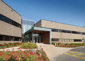 Modern commercial building located in industrial park